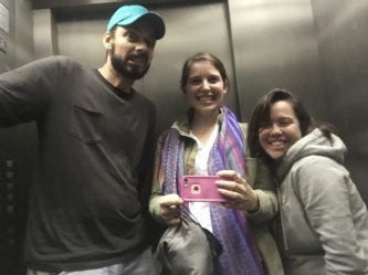 Silly elevator selfie with the staff.